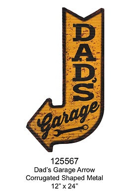 Dad's Garage Arrow Shaped  Tin Sign