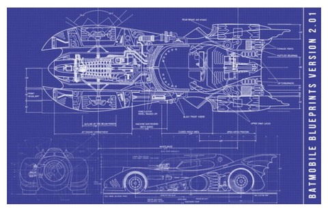1989 Batmobile Blueprint Fabric Poster