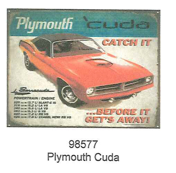 "Plymouth Cuda 12"" x 15"" Tin Sign"