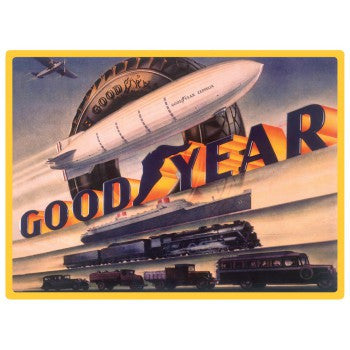 Goodyear Blimp Embossed Tin Sign