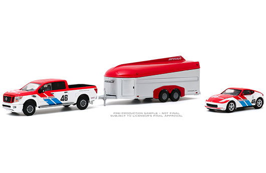 Greenlight 1:64 Racing Hitch & Tow Series 2 - 2019 Nissan Titan XD Pro-4X and 2019 Nissan 370Z BRE #46 (Brock Racing Enterprises) with Aerovault MKII Trailer (Red/White)