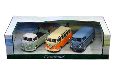 Cararama 3 Pack Set Volkswagen Bus and Pick Up Truck 1:43 Scale