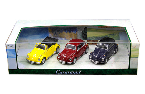 Cararama 3 Pack Set Volkswagen Beetle 1:43 Scale