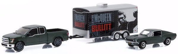 "Steve McQueen ""Bullitt"" 1968 Ford Mustang GT & 2015 Ford F-150 with Enclosed Car Hauler Trailer Set"