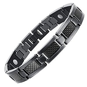 Stainless Steel Carbon Fiber Inlay Bracelet