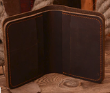 Brown Leather Vertical Bi-Fold Wallet