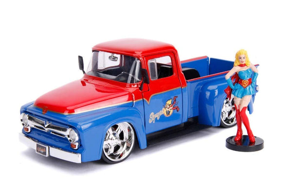DC Comics Bombshells - Supergirl & 1956 Ford F-100 Pickup (Red/Blue)