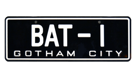 Batman 1966 Batmobile 66 BAT-1 Metal Stamped Replica Prop License Plate