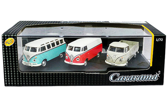 Cararama 1:72 3-Car Set - Volkswagen Bus, T1 Transporter, T1 Pickup