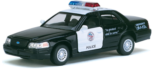Kinsmart- Ford Crown Victoria Police Interceptor Black & White - Loose 1:42 Diecast