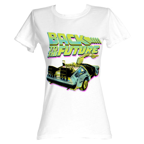 Back To The Future Women's Tee - Neon White