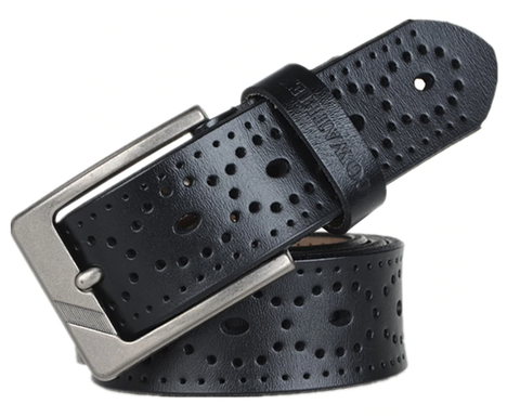 Black Brogue Leather Belt