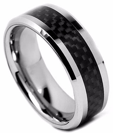 Tungsten Carbide 8mm Comfort Fit Ring - Carbon Fiber Inlay