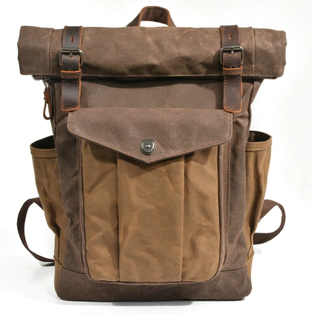 Retro Style Waxed Canvas Backpack