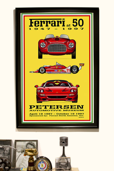 Petersen Museum Ferrari at 50th Vintage Poster