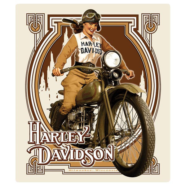 Harley-Davidson Nouveau Babe Embossed Tin Sign