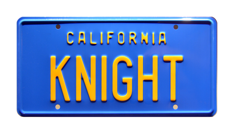 Knight Rider Michael Knight's '82 Trans Am 'KITT' KNIGHT Metal Stamped Replica Prop License Plate