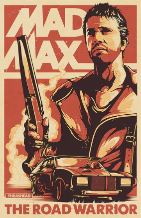 Mad Max Road Warrior Red Fabric Poster