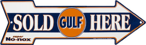 Gulf Sold Here Arrow Tin Sign