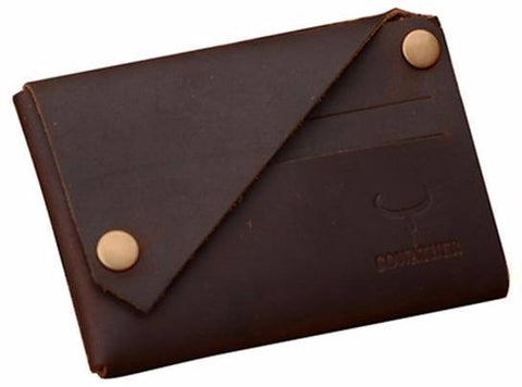 Brown Leather Button Down Slim Wallet
