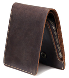 Leather Wallet with Zipper Coin Pocket