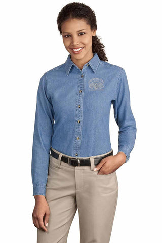 Checkered Flag Women's Long Sleeve Denim Shirt - CF200 Exclusive