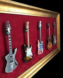 Mini Guitar Display Frame - Deep Red Suede - Wood Frame