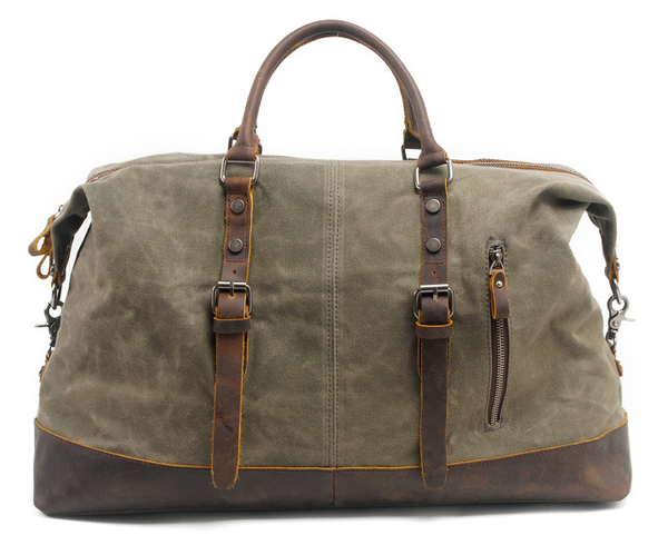Leather Strap Waxed Canvas Weekender Bag