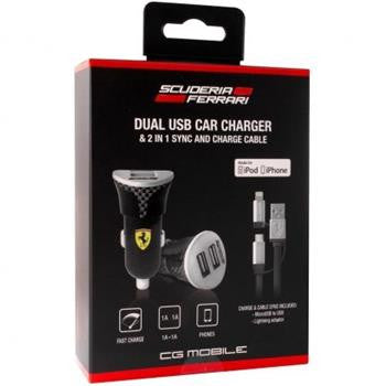 Ferrari Car Charger with Carbon Print Bundle Pack