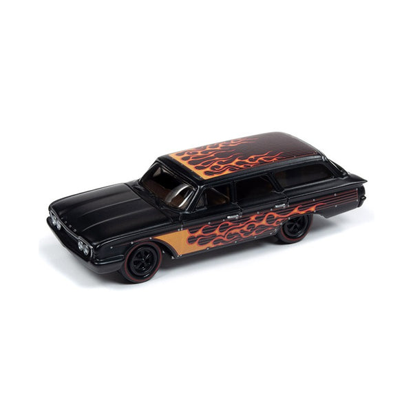 Johnny Lightning Black with Flames 1960 Ford Country Squire 1:64 Scale