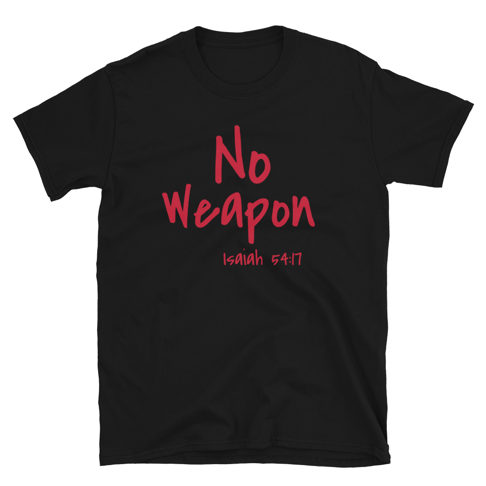 No Weapon T/ Red Letters by Cross Carrier Clothing - Crosscarrierclothing
