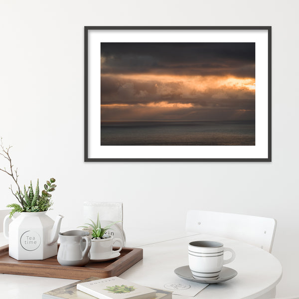 Clouds in Orange Colors over the Faroe Islands | Wall Art Print by Jan Erik Waider