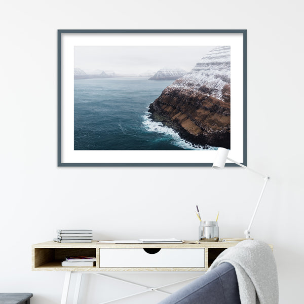 Coastline of the Faroe Islands from a Helicopter | Wall Art Print by Jan Erik Waider