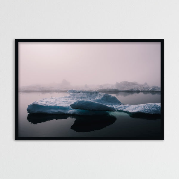 Foggy Weather over Icebergs in Greenland | Photography Print by Northlandscapes