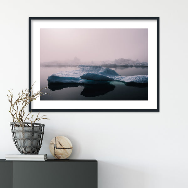 Foggy Weather over Icebergs in Greenland | Wall Art Print by Jan Erik Waider