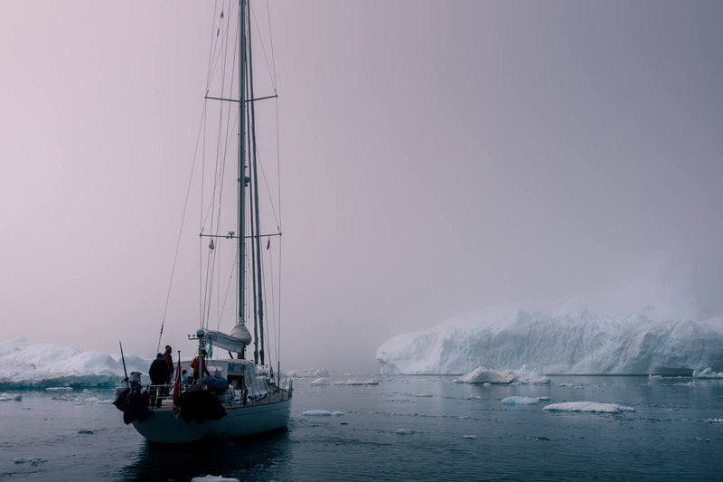 Sailing through the Disko Bay of Greenland