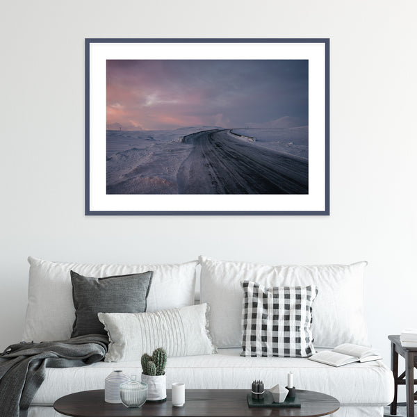 Snowy Road in Winter | Wall Art Print by Jan Erik Waider