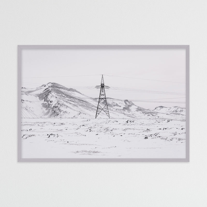 Power Line in Winter Landscape of Iceland | Photography Print by Northlandscapes