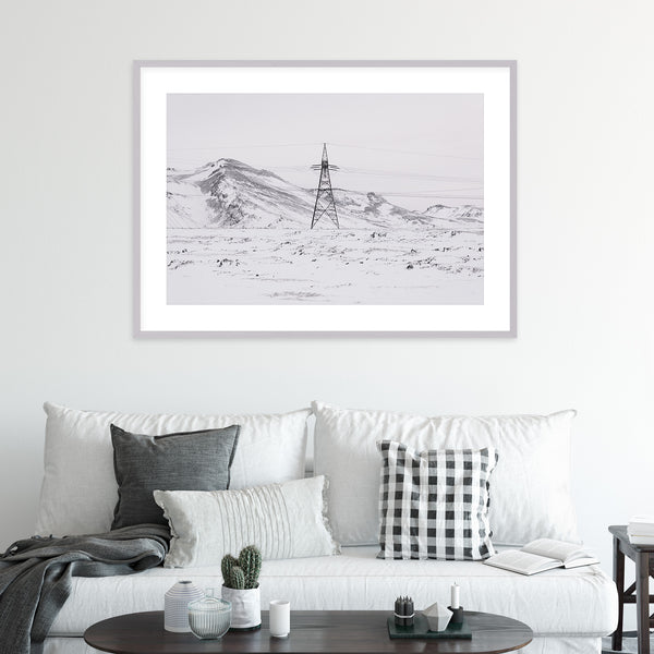 Power Line in Winter Landscape of Iceland | Wall Art Print by Jan Erik Waider