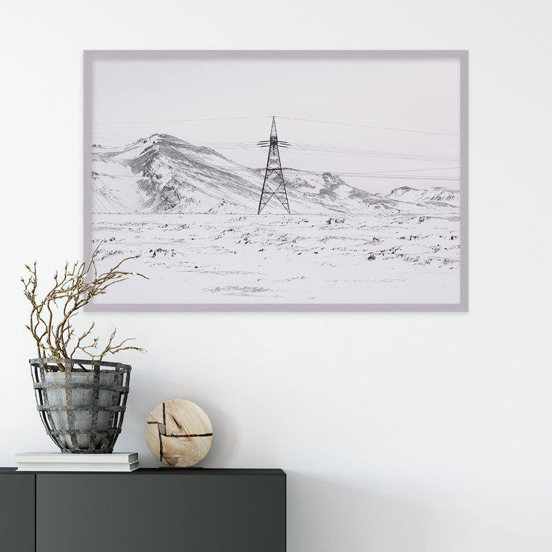 Power Line in Winter Landscape of Iceland | Fine Art Photography Print by Northlandscapes