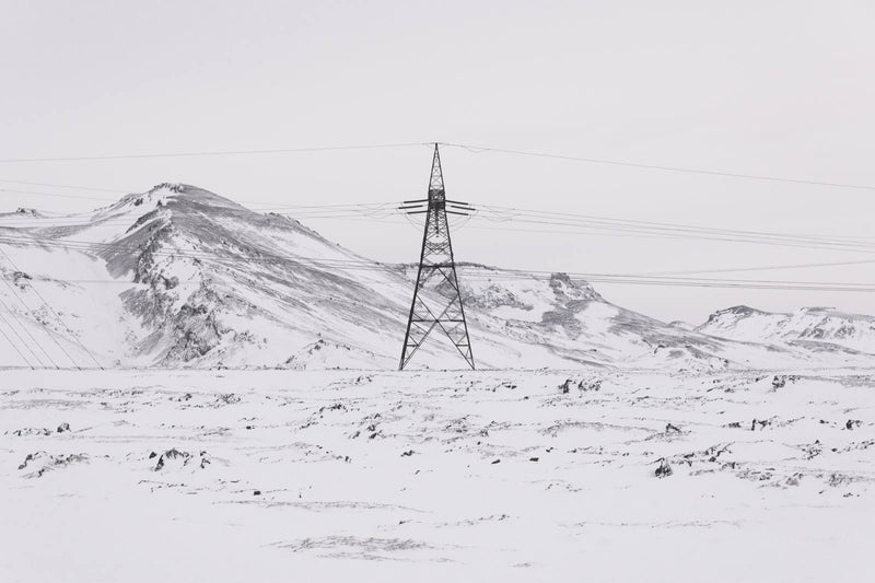 Power Line in Winter Landscape of Iceland