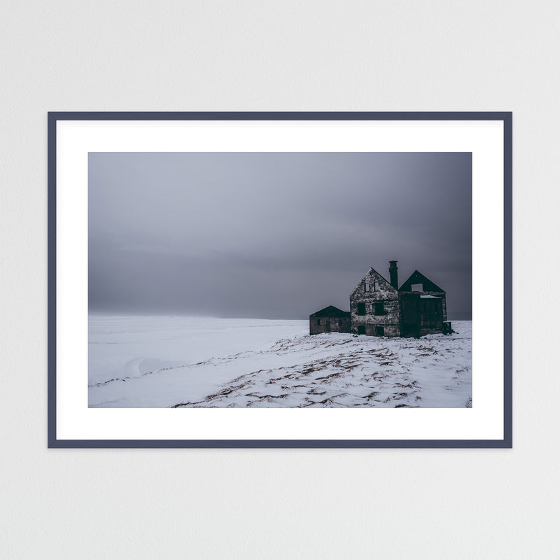 Abandoned House in Snowy Landscape of Iceland | Framed Photo Print by Jan Erik Waider