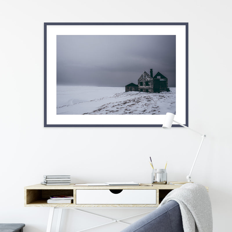 Abandoned House in Snowy Landscape of Iceland | Wall Art Print by Jan Erik Waider