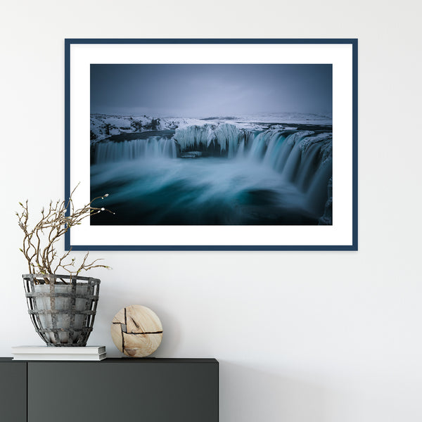 Goðafoss Waterfall in Winter, Iceland | Wall Art Print by Jan Erik Waider