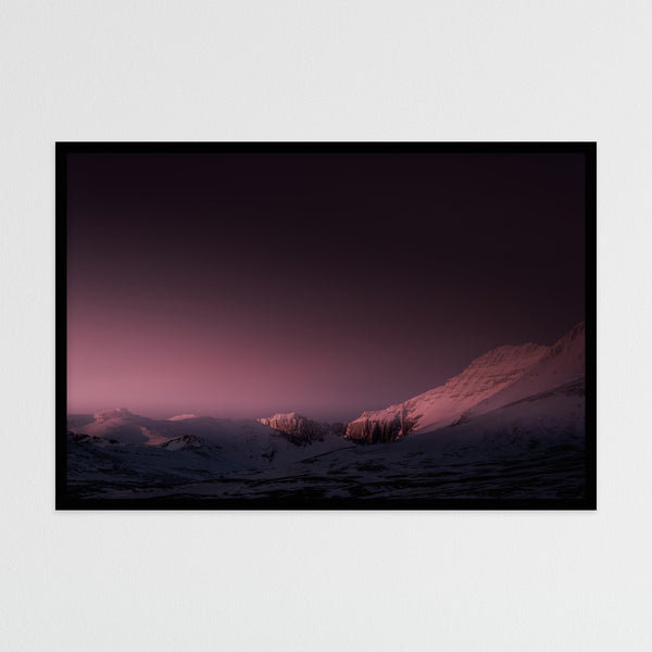 Mountain Range in Red Winter Light | Photography Print by Northlandscapes