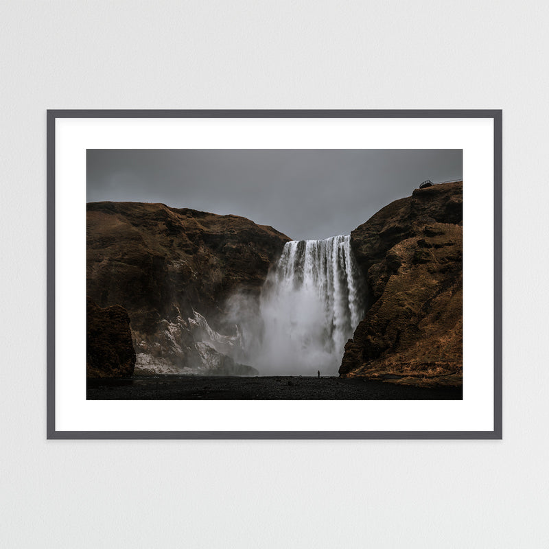 Dark Sky over Skógafoss Waterfall | Framed Photo Print by Jan Erik Waider