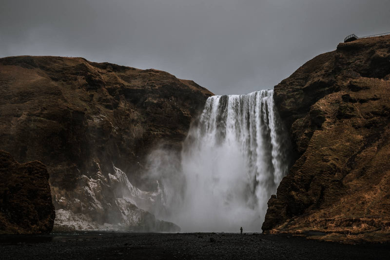 Dark Sky over Skógafoss Waterfall in Iceland