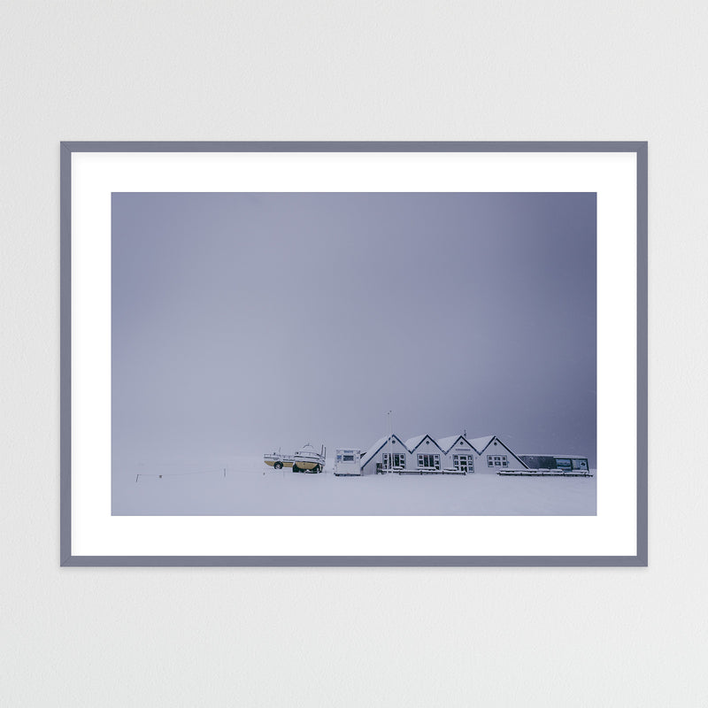 Huts in Winter Landscape of Iceland | Framed Photo Print by Jan Erik Waider