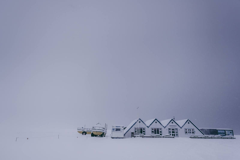Huts in Winter Landscape of Iceland