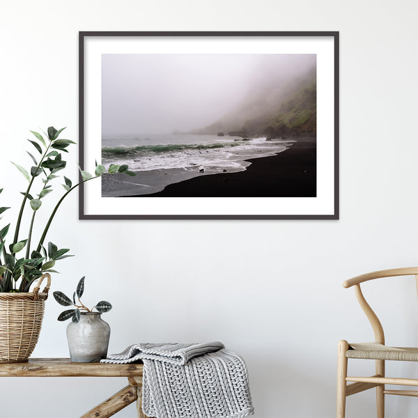 Moody Black Sand Beach of Vík in Iceland | Wall Art Print by Jan Erik Waider